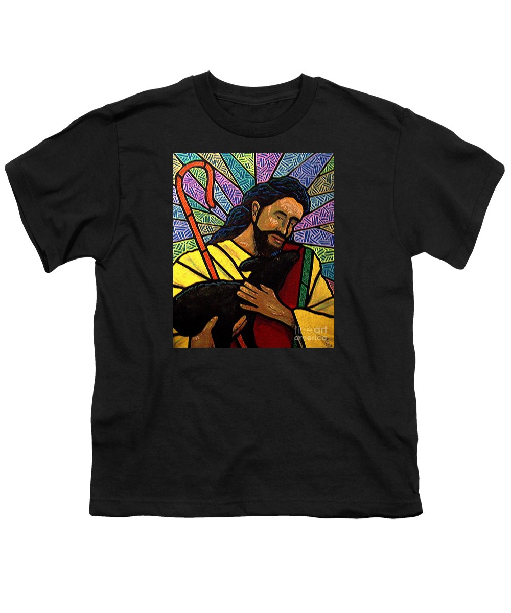 Jesus Youth T-Shirt featuring the painting The Good Shepherd - Practice Painting One by Jim Harris
