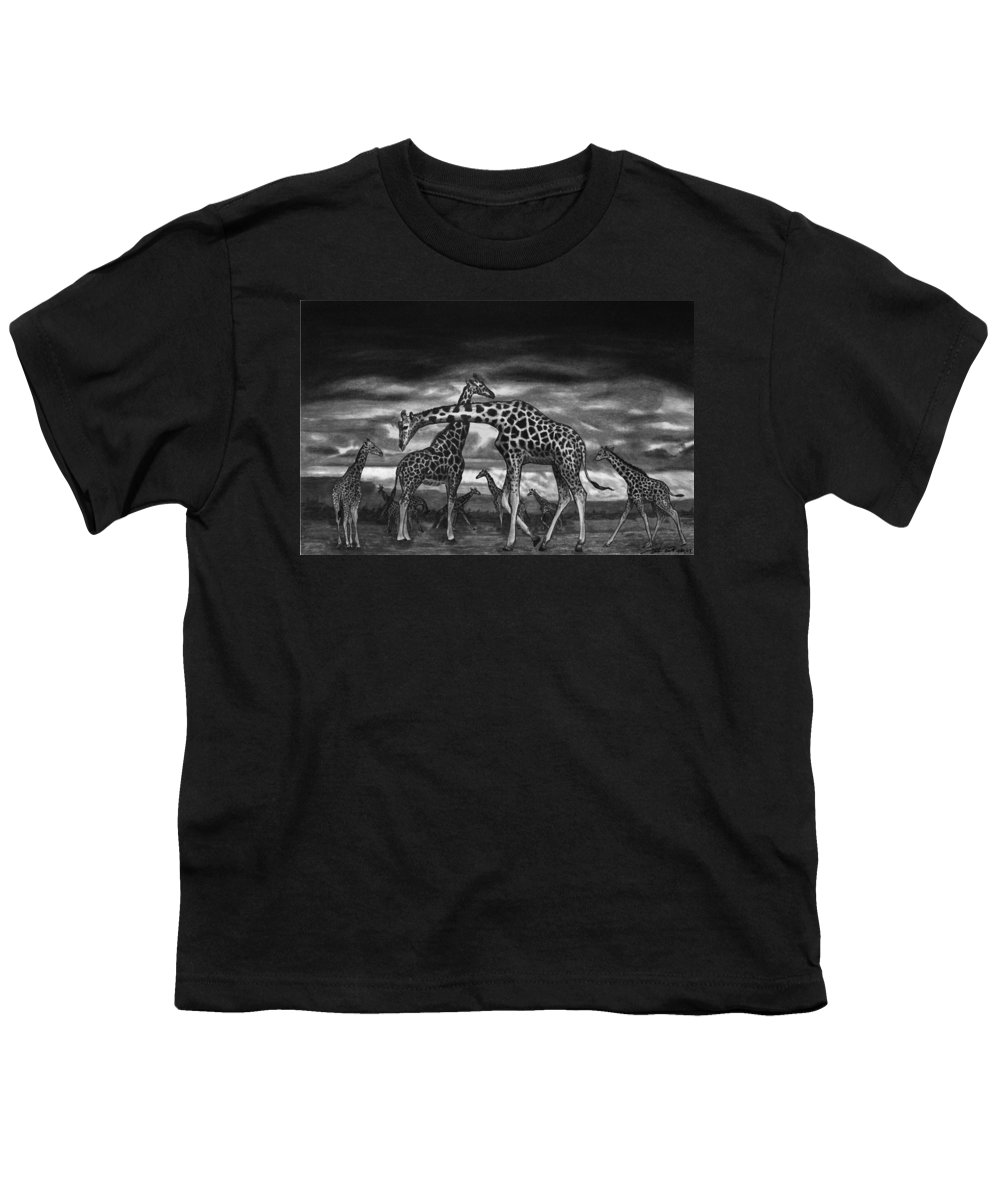 The Herd Youth T-Shirt featuring the drawing The Herd by Peter Piatt