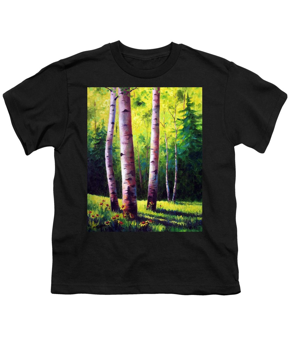 Aspen Youth T-Shirt featuring the painting The Light Of Spring by David G Paul