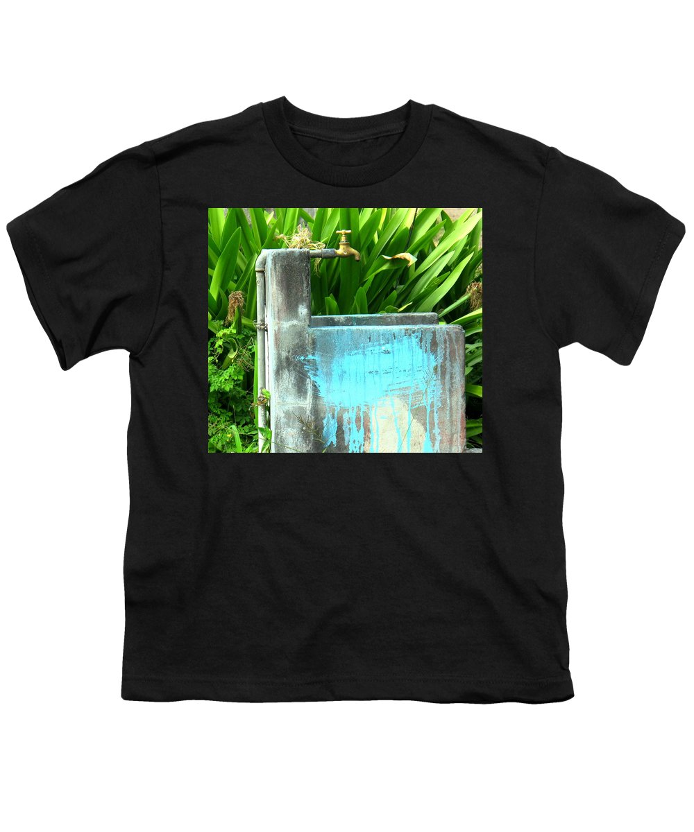 Water Youth T-Shirt featuring the photograph The Neighborhood Water Pipe by Ian MacDonald