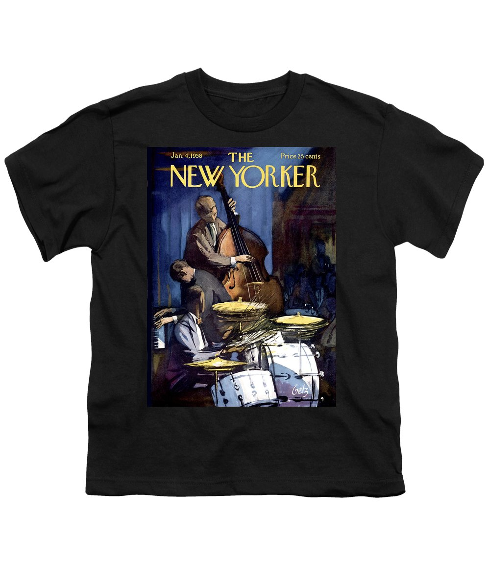 Concert Youth T-Shirt featuring the painting The New Yorker Cover - January 4th, 1958 by Arthur Getz