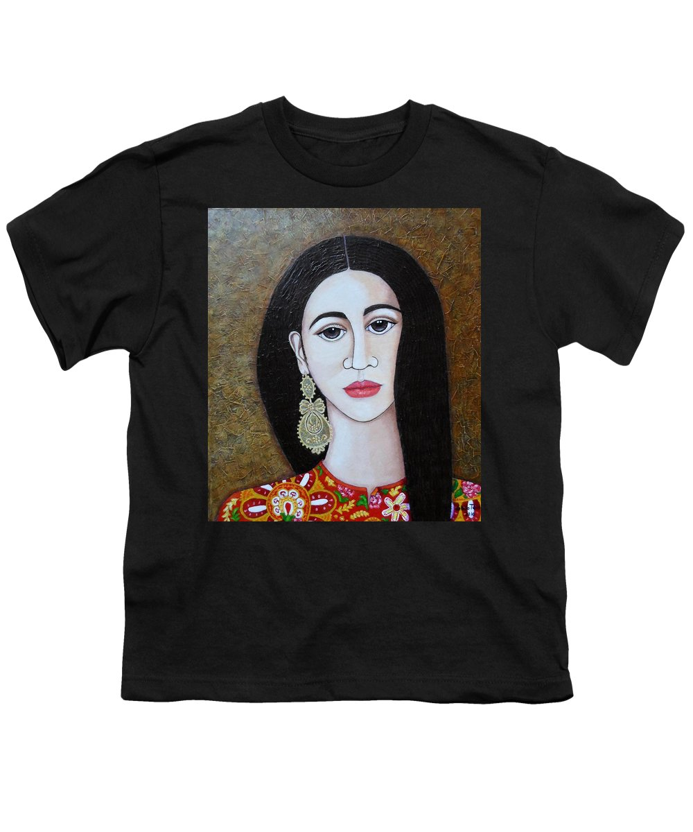 Woman Youth T-Shirt featuring the painting The Portuguese Earring 2 by Madalena Lobao-Tello