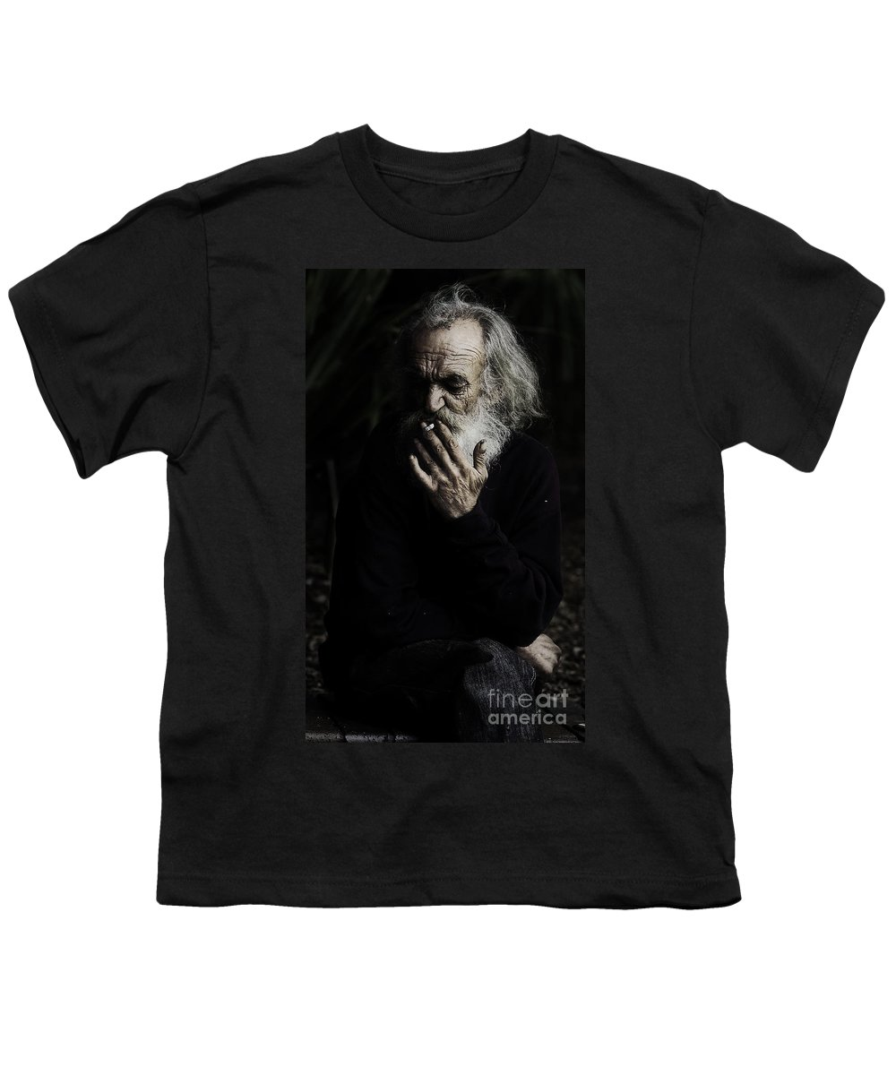 Homeless Male Smoking Smoker Aged Youth T-Shirt featuring the photograph The Smoker by Sheila Smart Fine Art Photography