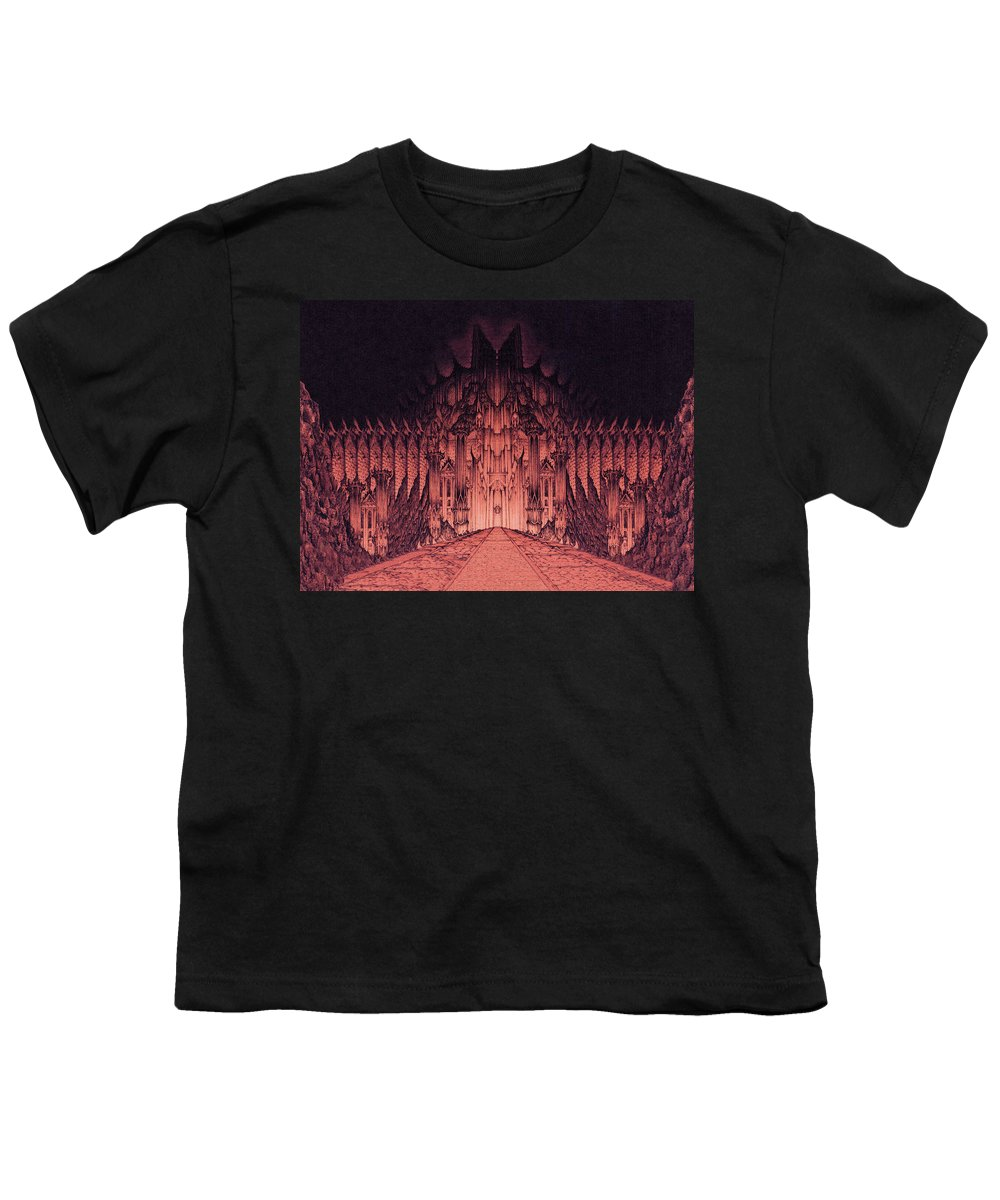 Barad Dur Youth T-Shirt featuring the drawing The Walls Of Barad Dur by Curtiss Shaffer