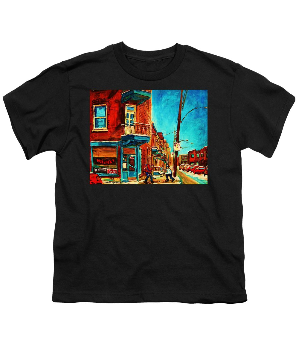 Wilenskys Doorway Youth T-Shirt featuring the painting The Wilensky Doorway by Carole Spandau