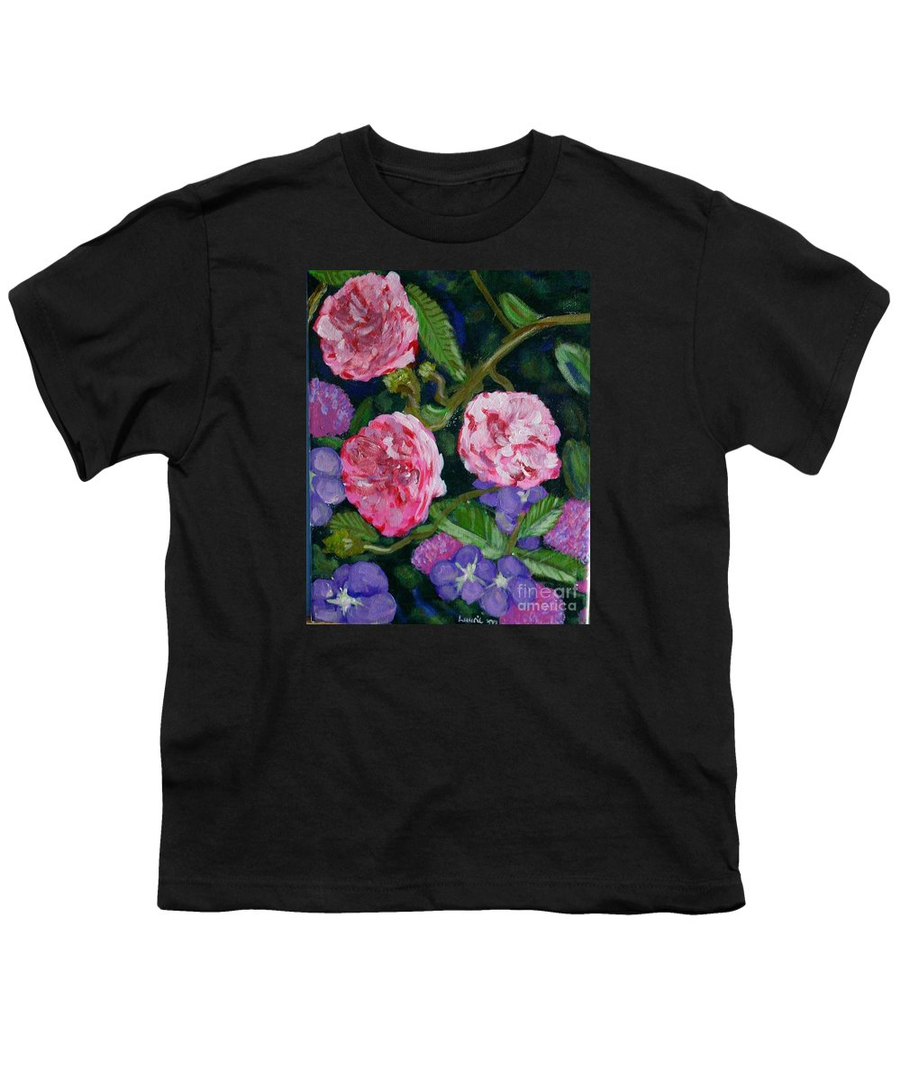 Roses Youth T-Shirt featuring the painting Three For The Show by Laurie Morgan
