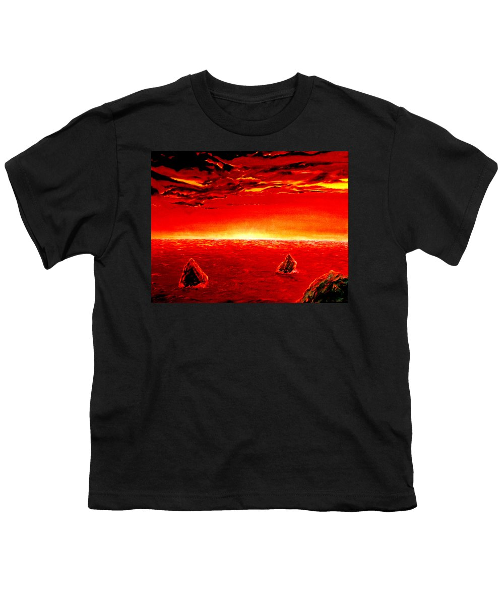 Seascape Youth T-Shirt featuring the painting Three Rocks In Sunset by Mark Cawood