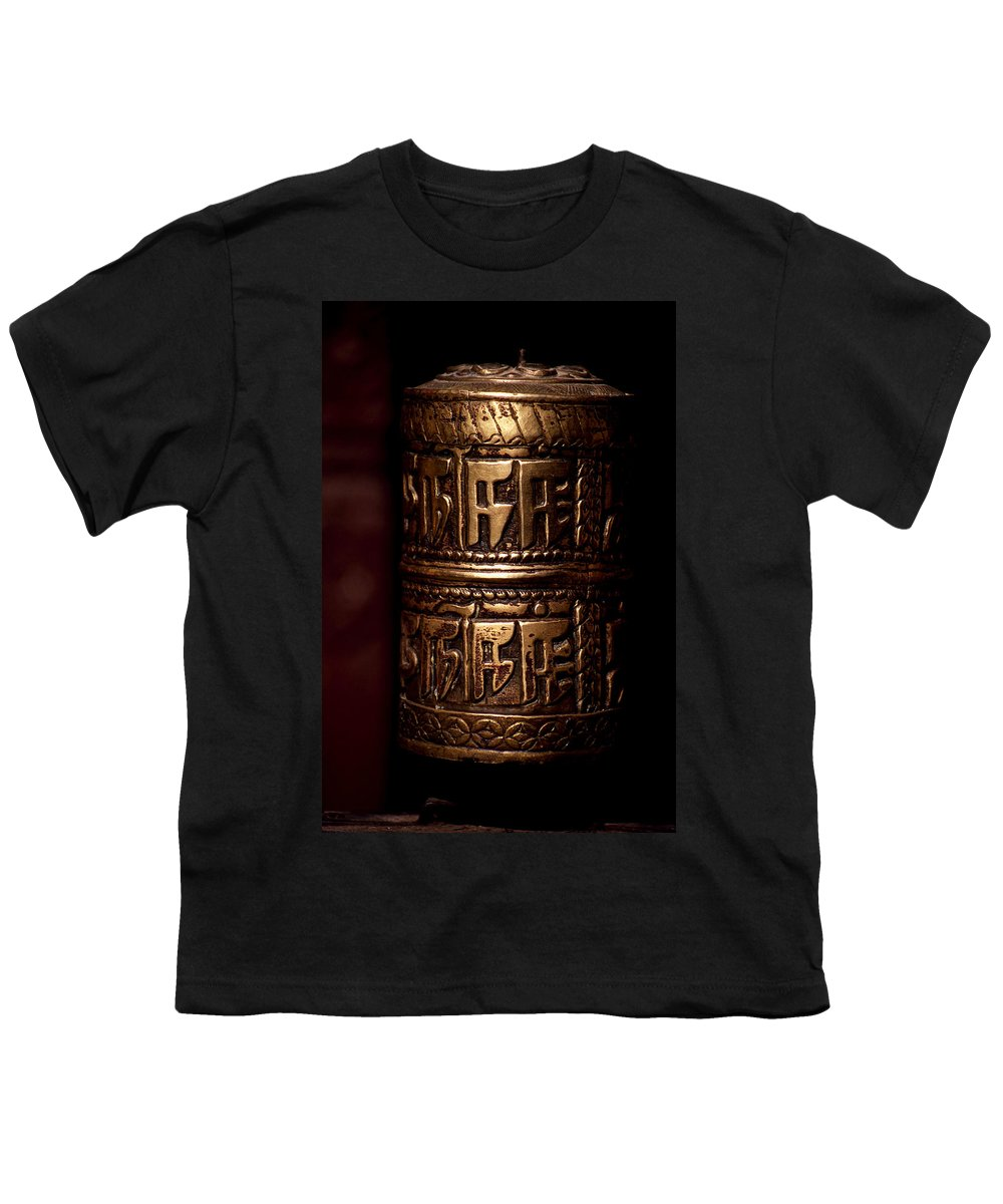 Prayer Wheel Youth T-Shirt featuring the photograph Tibetan Prayer Wheel by Patrick Klauss