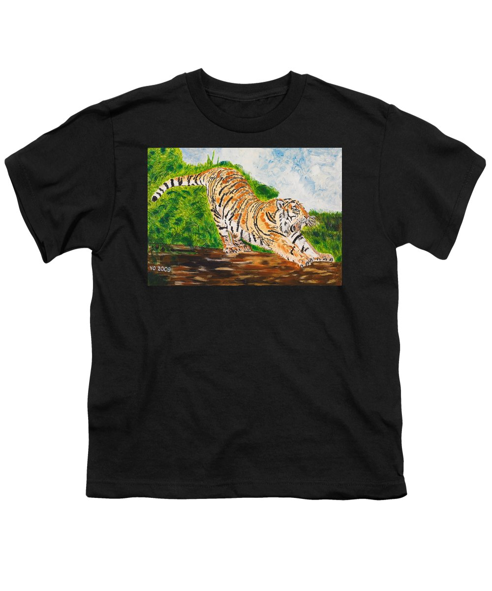 Cat Youth T-Shirt featuring the painting Tiger Stretching by Valerie Ornstein