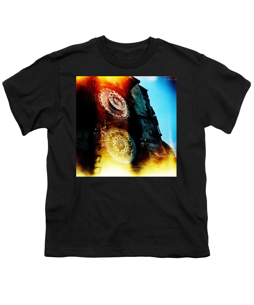 Clock Time Holga Color Photograph Praha Youth T-Shirt featuring the photograph Time Is Burning by Olivier De Rycke