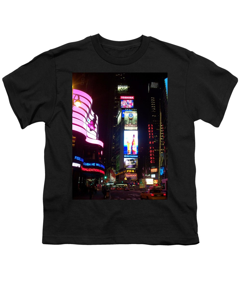 Times Square Youth T-Shirt featuring the photograph Times Square 1 by Anita Burgermeister