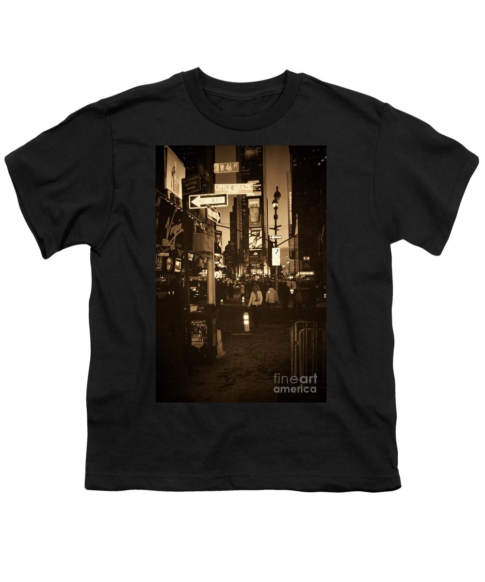 New York Youth T-Shirt featuring the photograph Times Square by Debbi Granruth