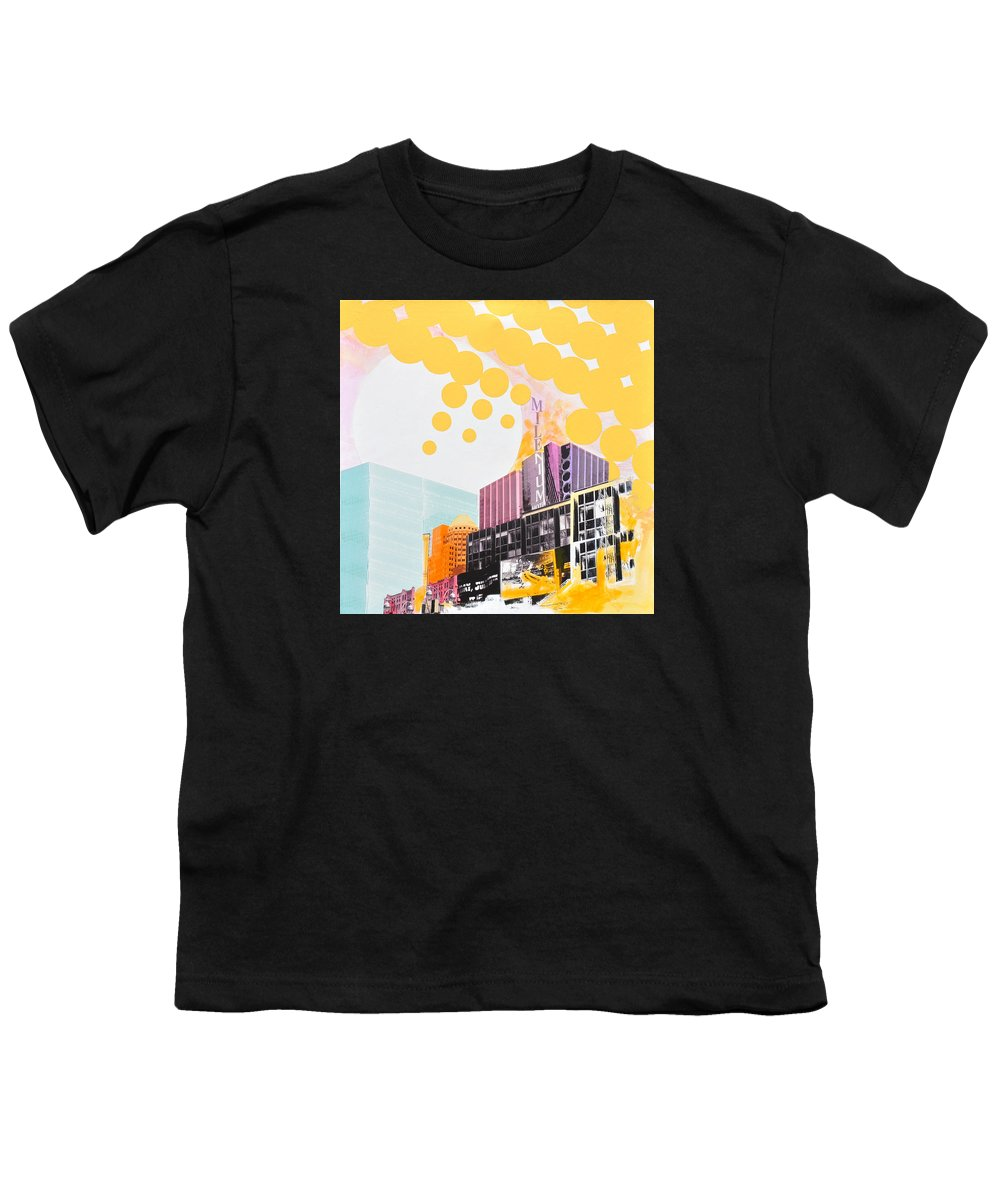 Ny Youth T-Shirt featuring the painting Times Square Milenium Hotel by Jean Pierre Rousselet