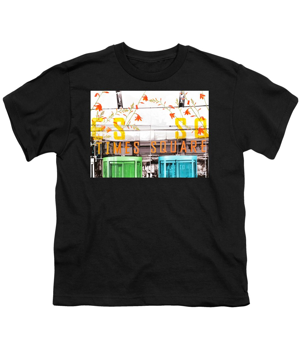 Ny Youth T-Shirt featuring the painting Times Square Tower by Jean Pierre Rousselet