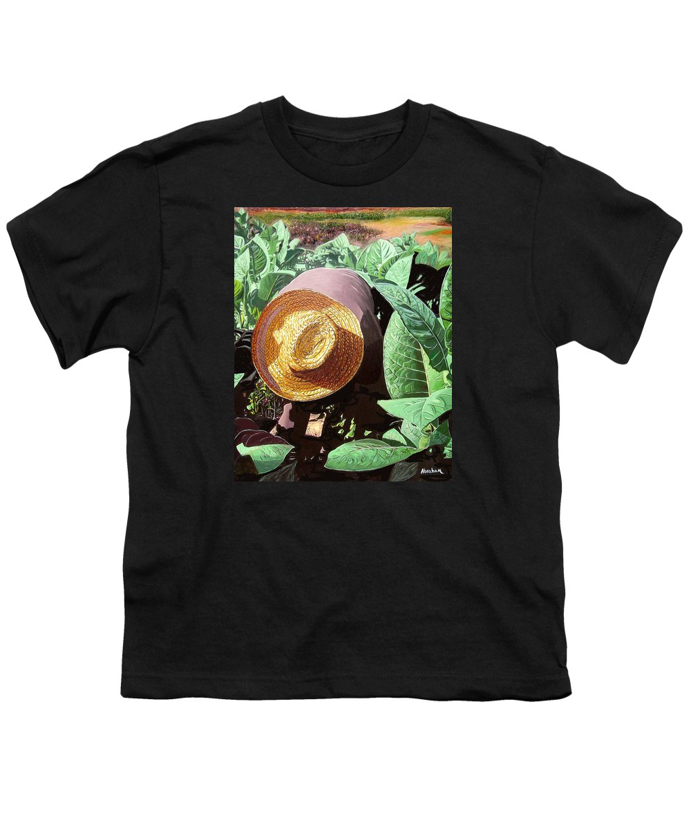 Tobacco Youth T-Shirt featuring the painting Tobacco Picker by Jose Manuel Abraham