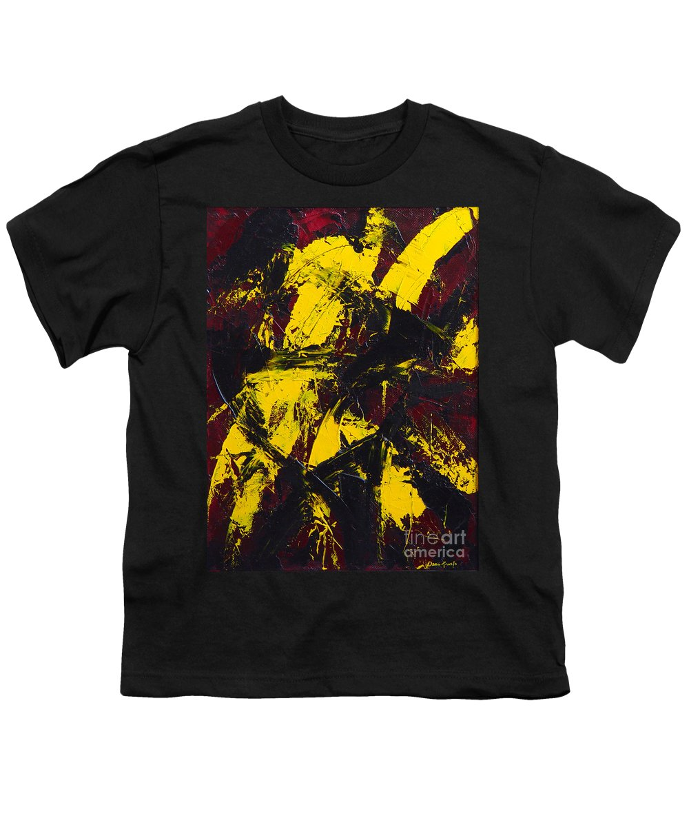 Abstract Youth T-Shirt featuring the painting Transitions With Yelllow And Black by Dean Triolo