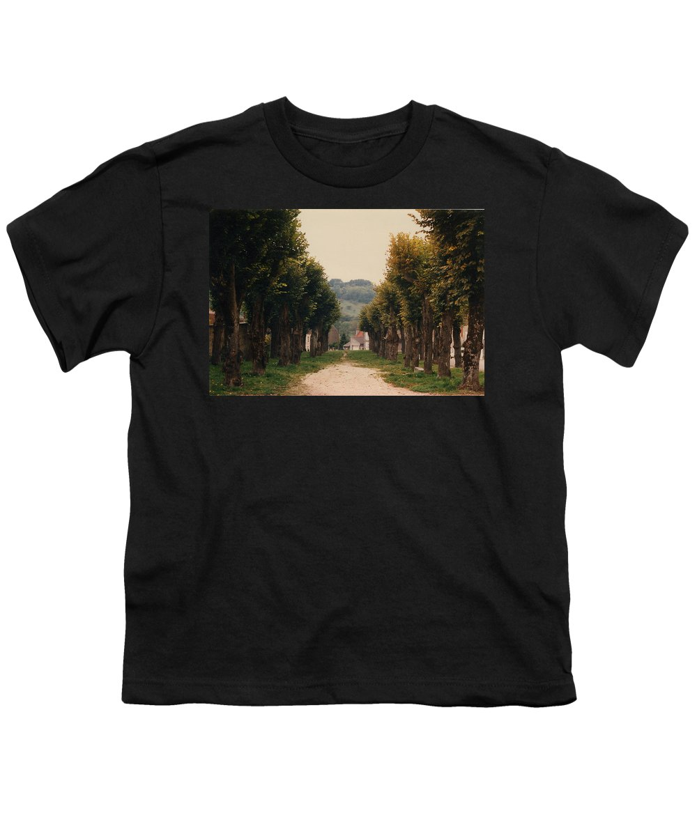 Trees Youth T-Shirt featuring the photograph Tree Lined Pathway In Lyon France by Nancy Mueller