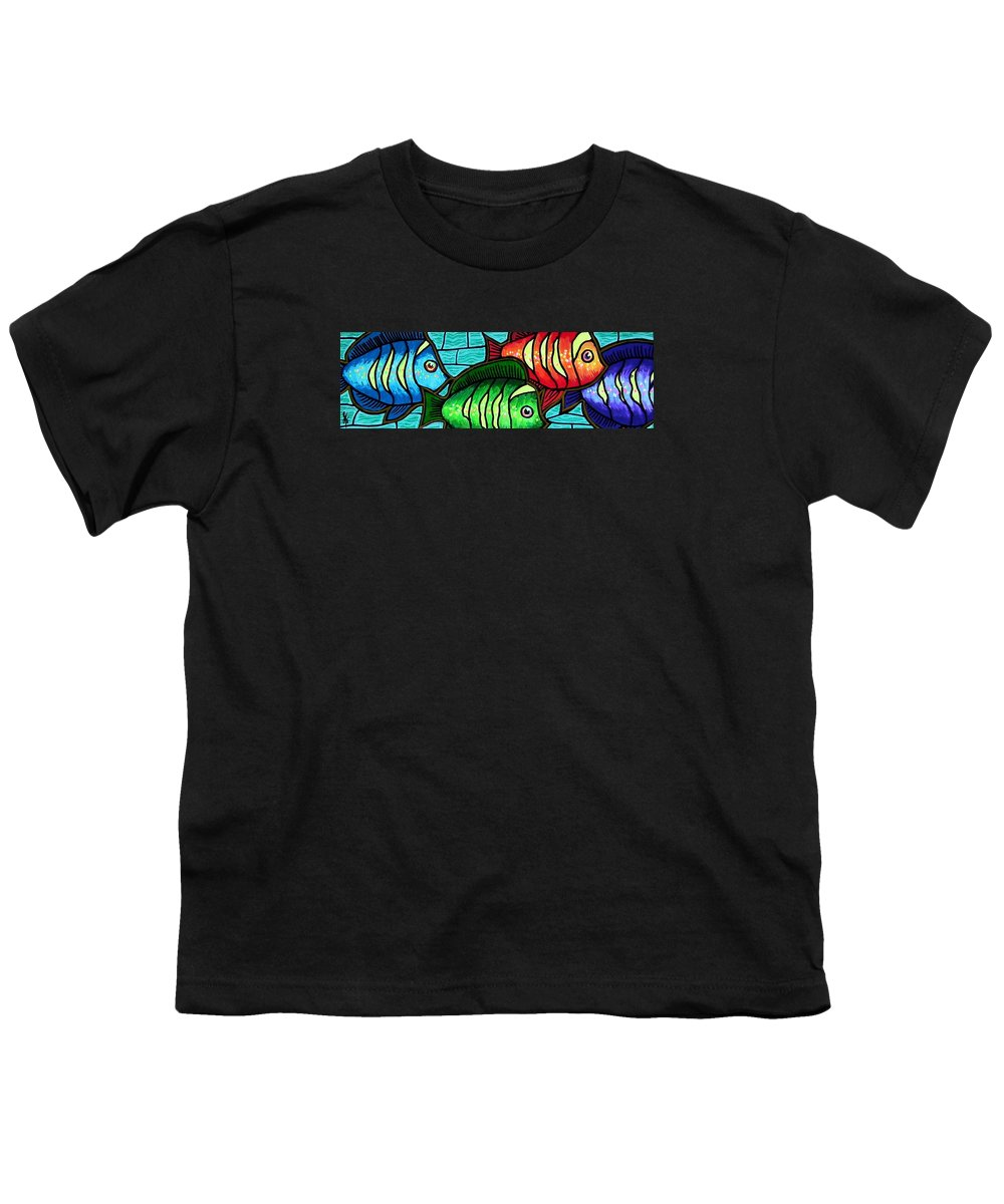 Tropics Youth T-Shirt featuring the painting Tropic Swim by Jim Harris