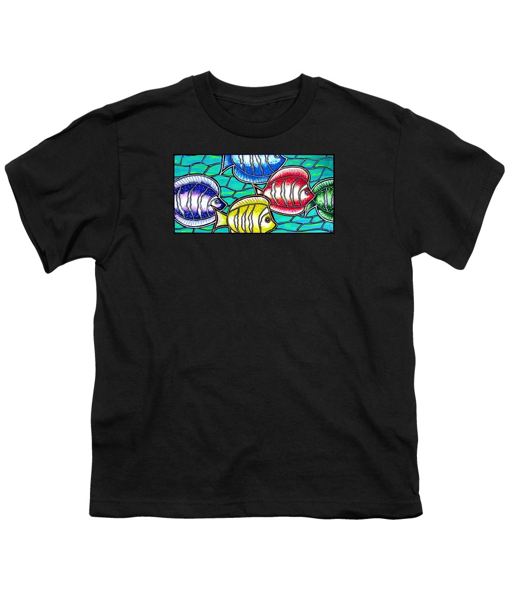 Fish Youth T-Shirt featuring the painting Tropical Fish Swim by Jim Harris