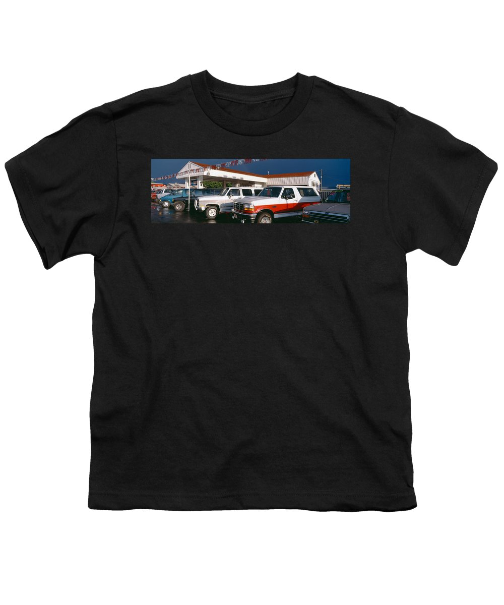 Photography Youth T-Shirt featuring the photograph Trucks In Used Car Lot, St. George, Utah by Panoramic Images