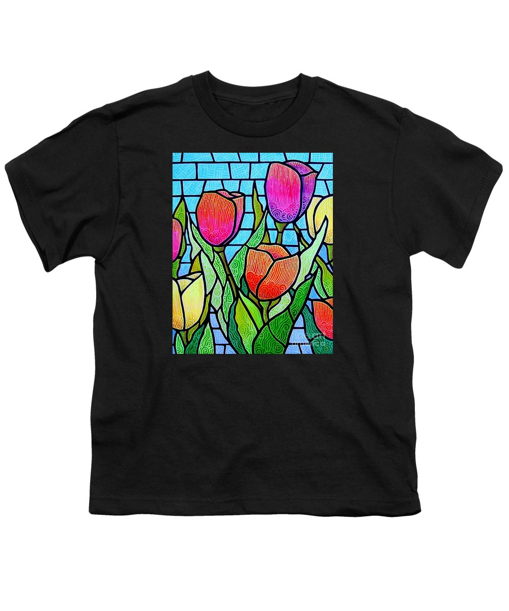 Tulips Youth T-Shirt featuring the painting Tulip Garden by Jim Harris