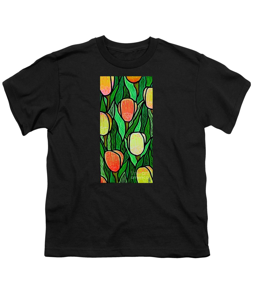 Tulips Youth T-Shirt featuring the painting Tulip Joy 2 by Jim Harris