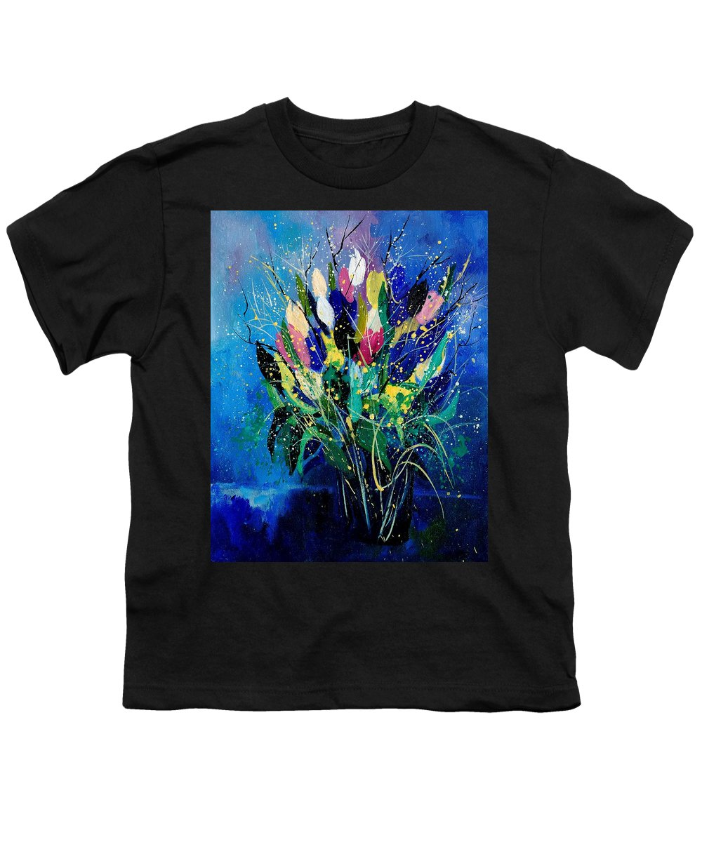 Flowers Youth T-Shirt featuring the painting Tulips 45 by Pol Ledent