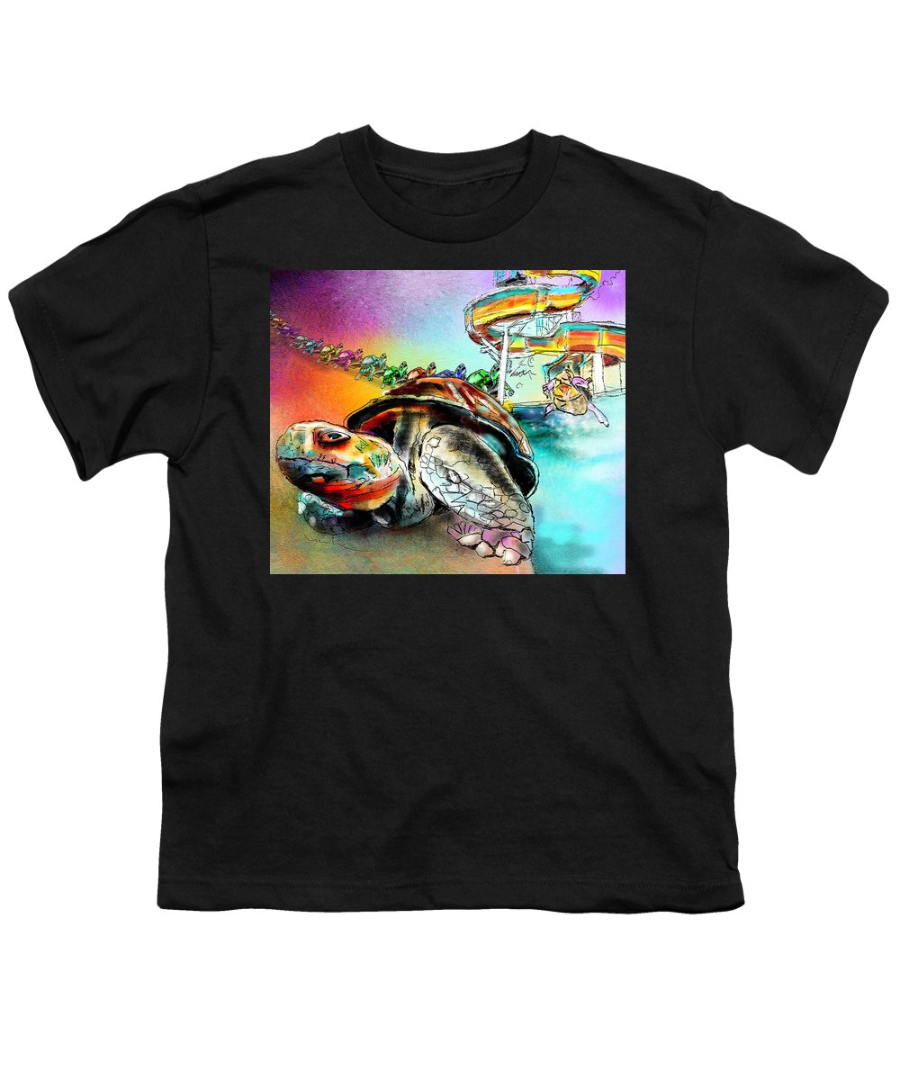 Turtle Youth T-Shirt featuring the painting Turtle Slide by Miki De Goodaboom