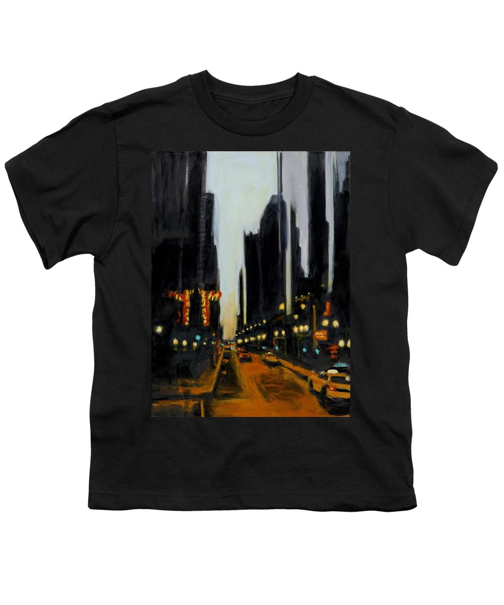 Rob Reeves Youth T-Shirt featuring the painting Twilight In Chicago by Robert Reeves