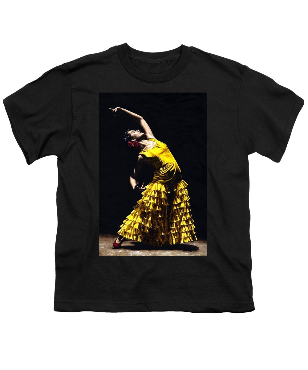 Flamenco Youth T-Shirt featuring the painting Un Momento Intenso Del Flamenco by Richard Young