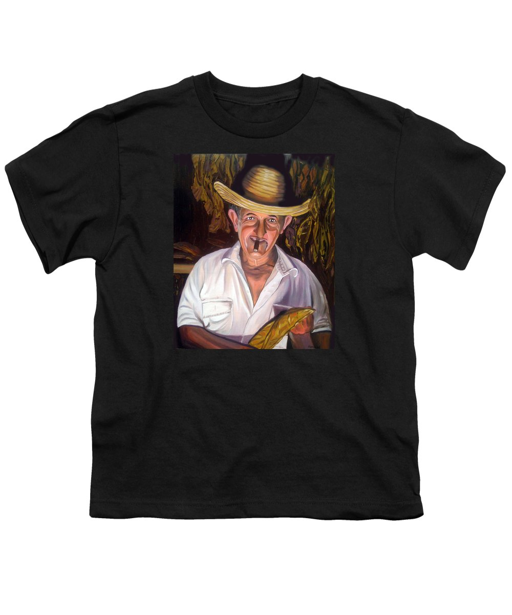 Cuban Art Youth T-Shirt featuring the painting Uncle Frank by Jose Manuel Abraham