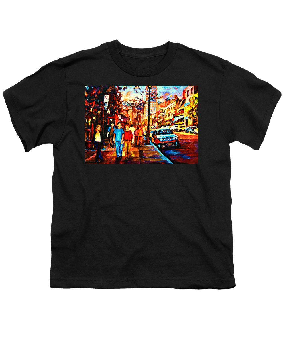 Montrealstreetscene Youth T-Shirt featuring the painting Under A Crescent Moon by Carole Spandau