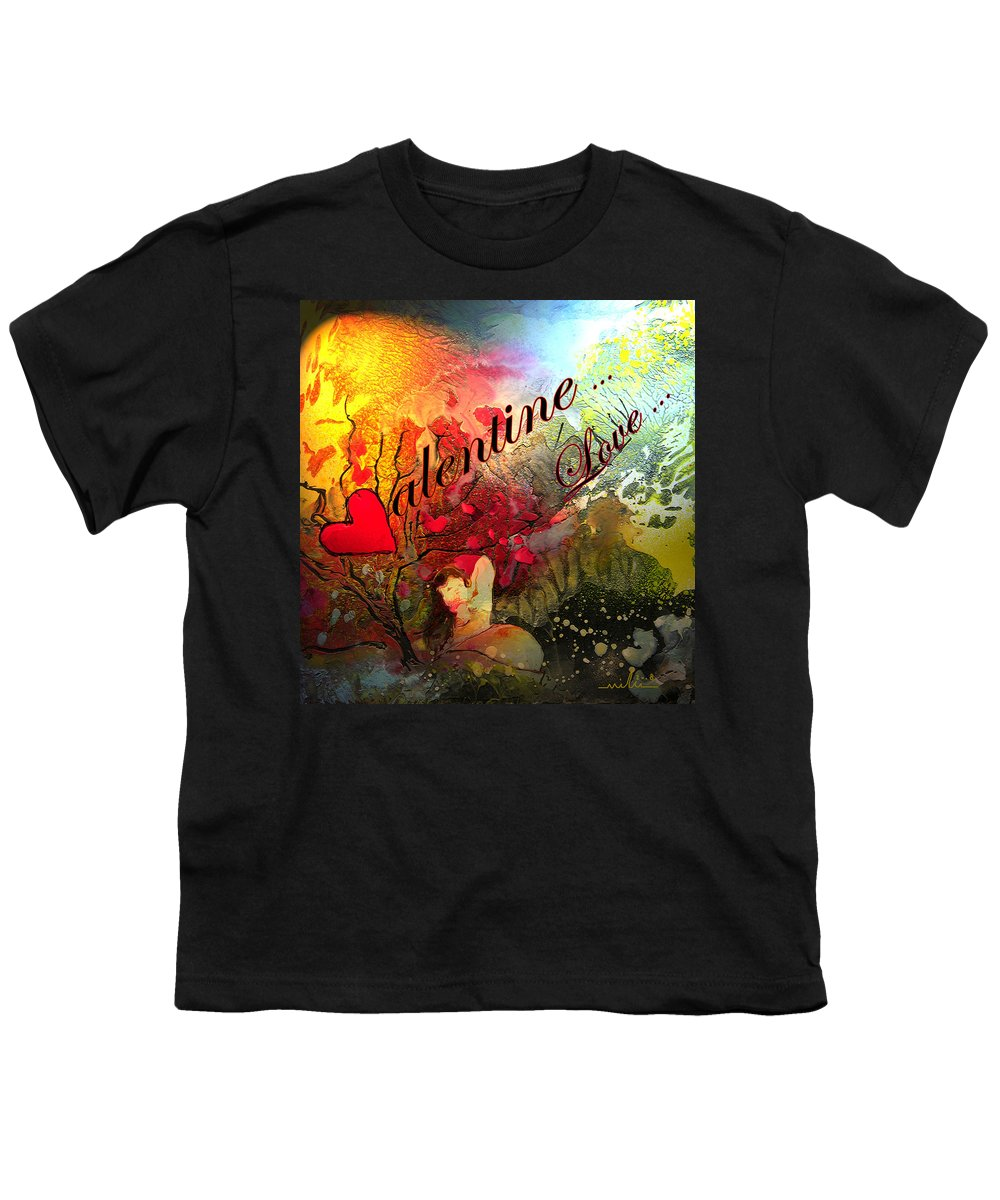 Valentine Youth T-Shirt featuring the painting Valentine by Miki De Goodaboom