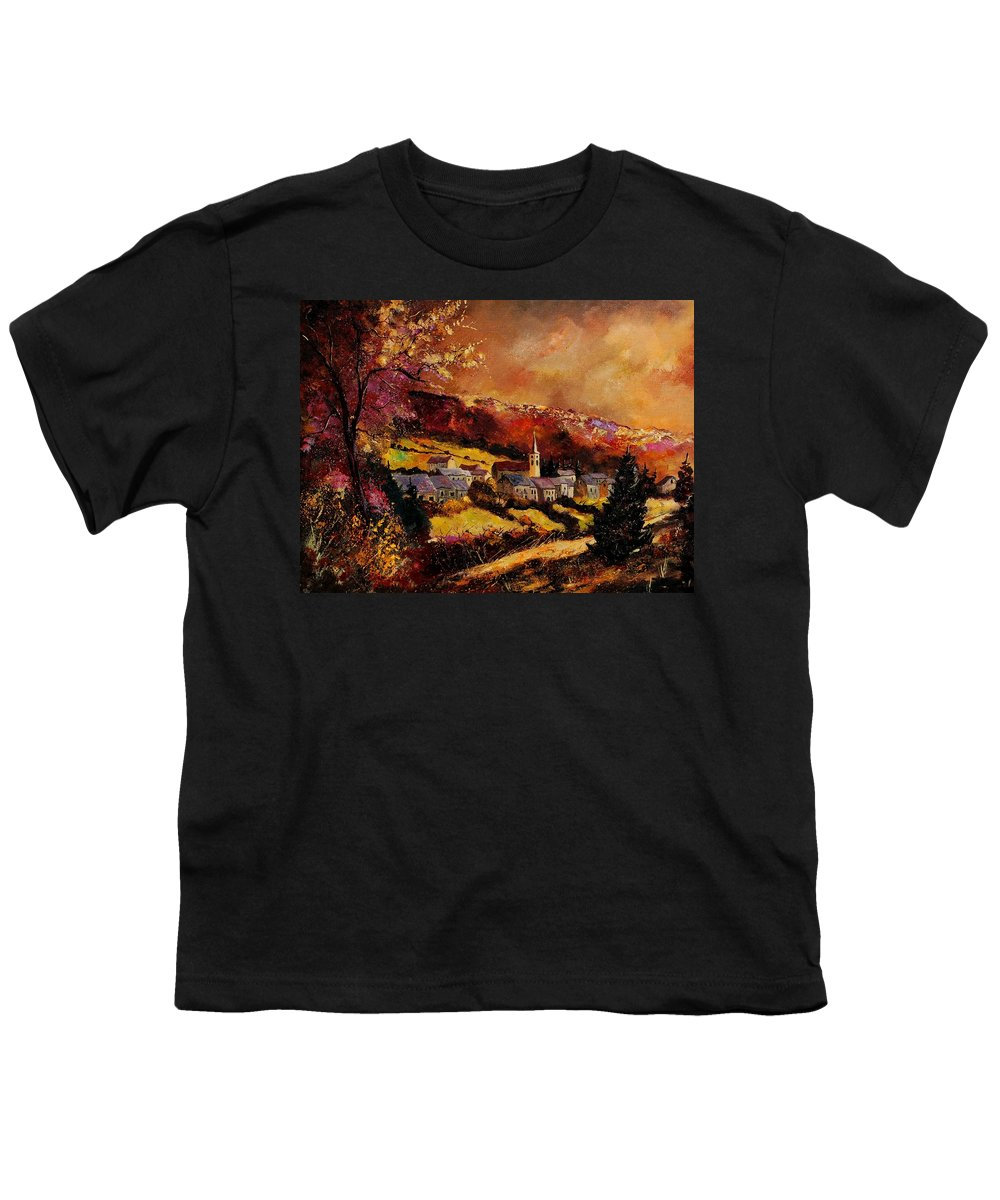 River Youth T-Shirt featuring the painting Vencimont Village Ardennes by Pol Ledent