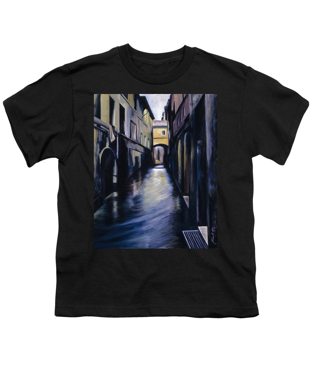 Street; Canal; Venice ; Desert; Abandoned; Delapidated; Lost; Highway; Route 66; Road; Vacancy; Run-down; Building; Old Signage; Nastalgia; Vintage; James Christopher Hill; Jameshillgallery.com; Foliage; Sky; Realism; Oils Youth T-Shirt featuring the painting Venice by James Christopher Hill