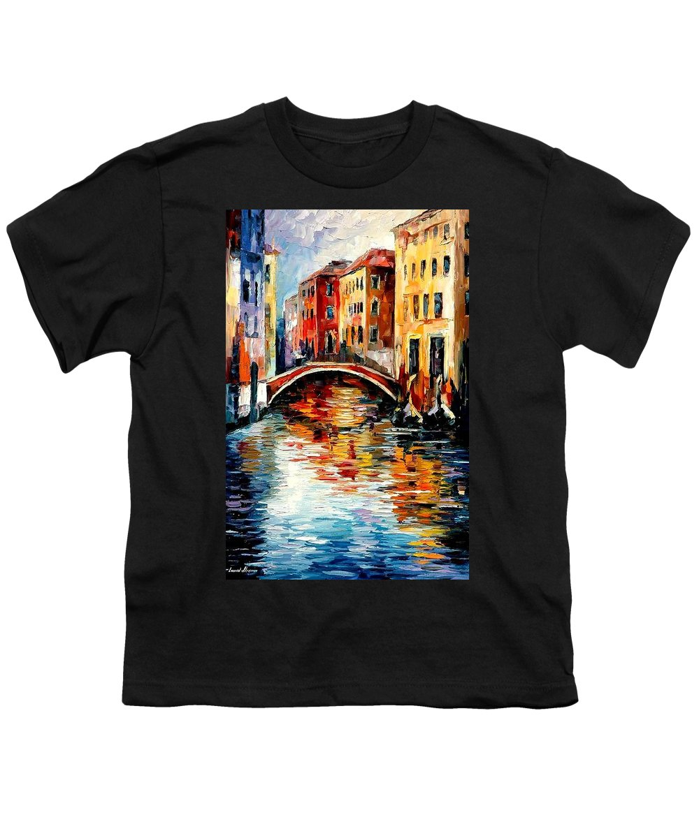 Landscape Youth T-Shirt featuring the painting Venice by Leonid Afremov