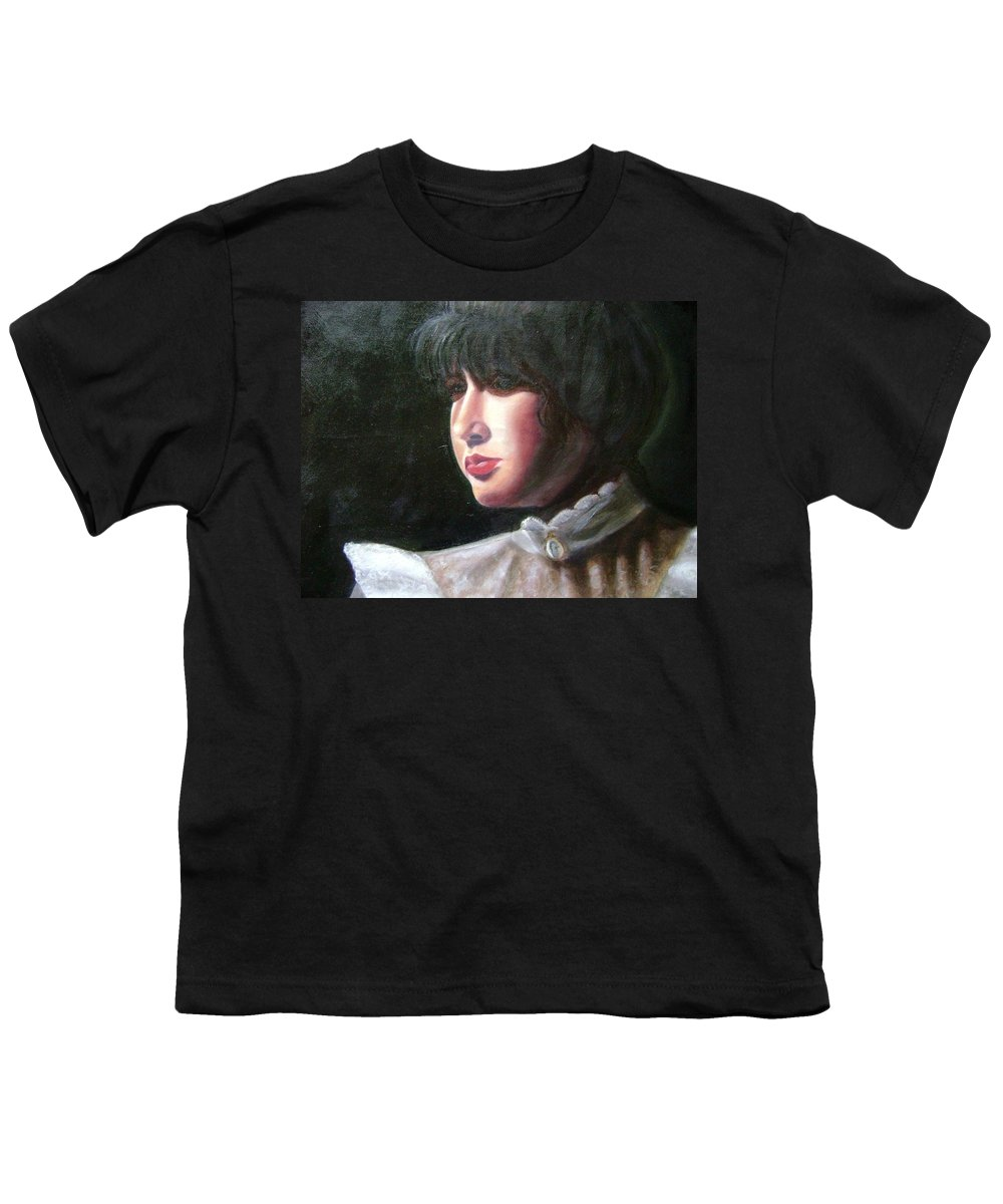 Girl In White Blouse Youth T-Shirt featuring the painting Victorian Blouse by Toni Berry