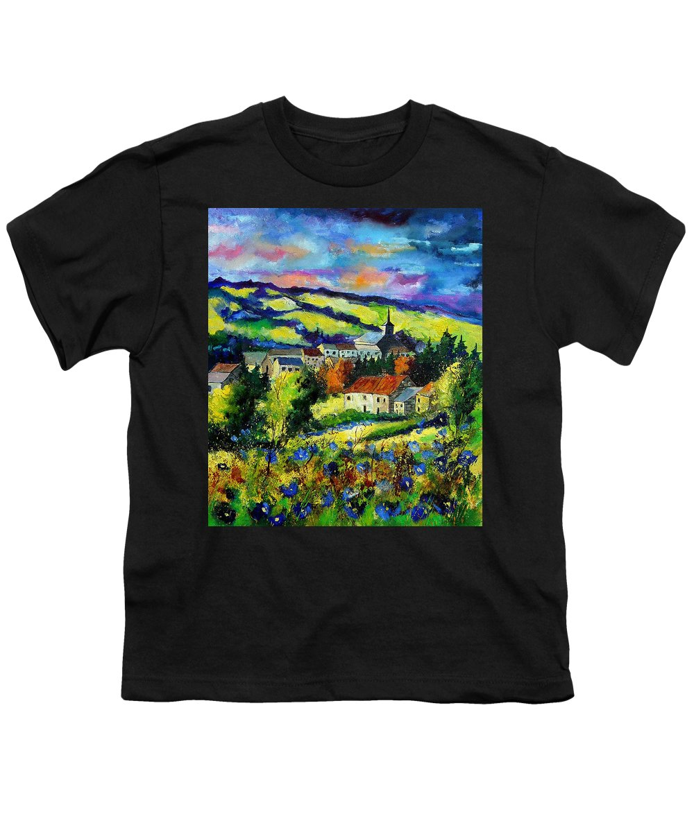 Landscape Youth T-Shirt featuring the painting Village And Blue Poppies by Pol Ledent