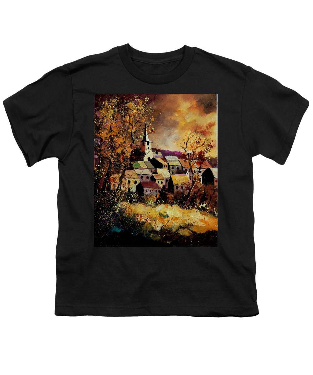River Youth T-Shirt featuring the painting Village In Fall by Pol Ledent