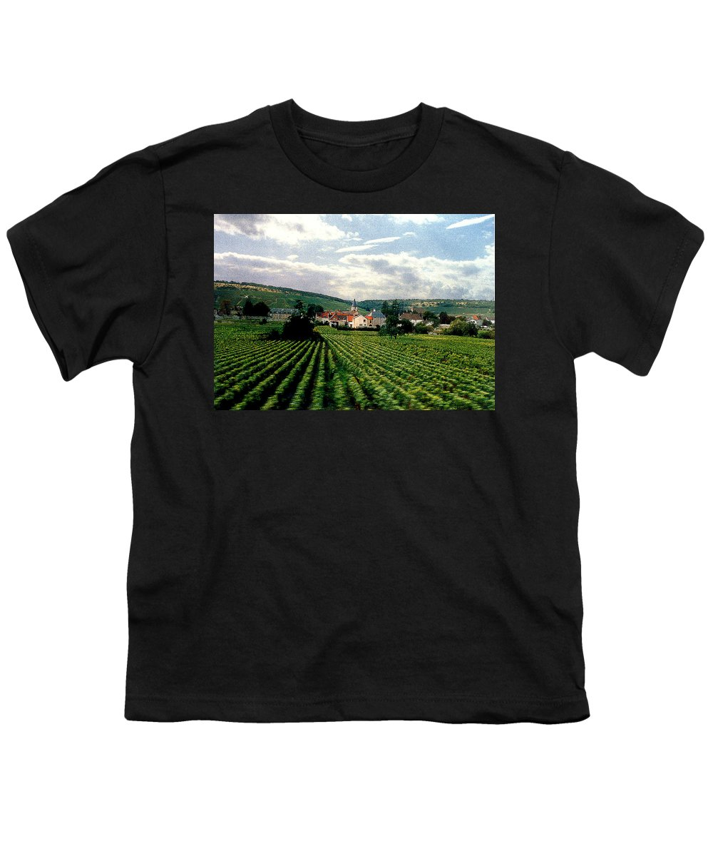 Vineyards Youth T-Shirt featuring the photograph Village In The Vineyards Of France by Nancy Mueller