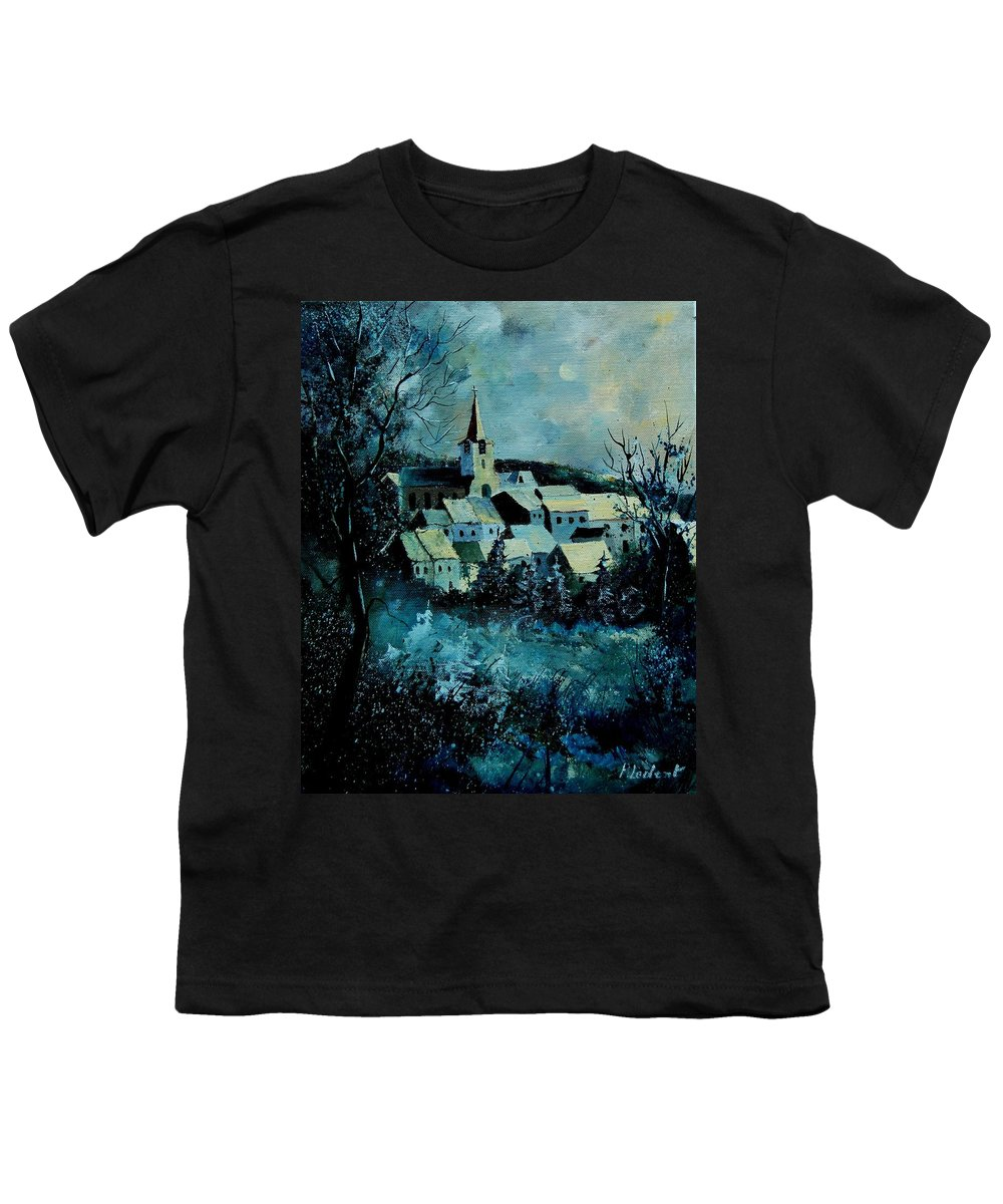 River Youth T-Shirt featuring the painting Village In Winter by Pol Ledent
