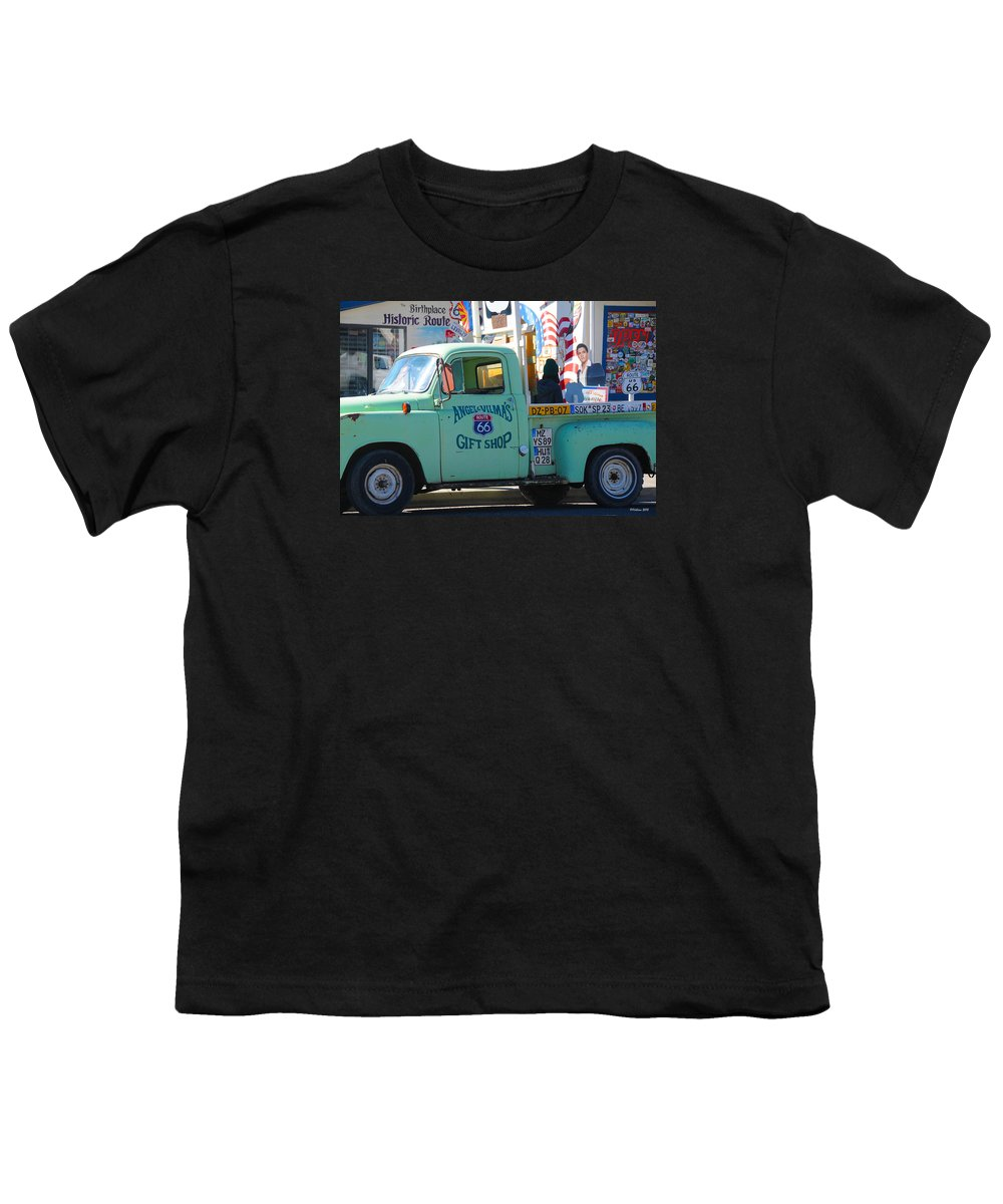 Gift Shop Youth T-Shirt featuring the photograph Vintage Truck with Elvis on Historic Route 66 by Victoria Oldham