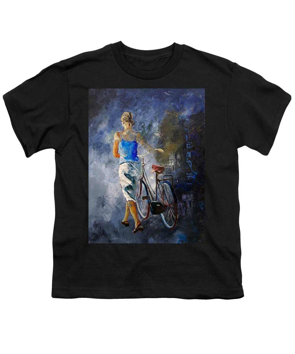 Girl Youth T-Shirt featuring the painting Waking Aside Her Bike 68 by Pol Ledent