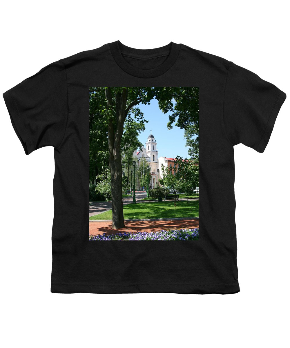 Park City Tree Trees Flowers Church Building Summer Blue Sky Green Walk Bench Youth T-Shirt featuring the photograph Walk In The Park by Andrei Shliakhau