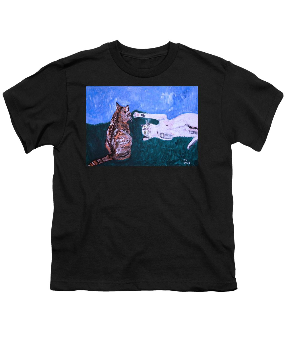 Cat Youth T-Shirt featuring the painting Want To Play by Valerie Ornstein