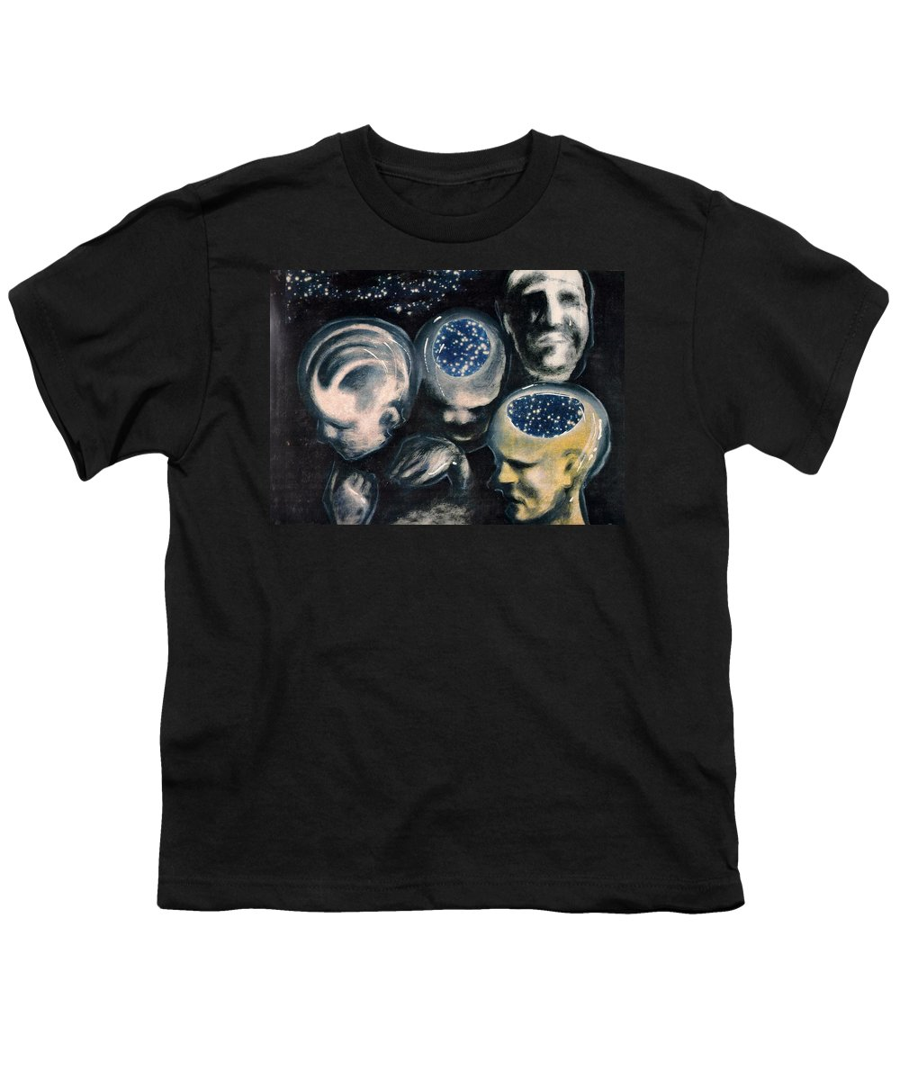 Universe Aura Thoughts Thinking Faces Mistery Youth T-Shirt featuring the mixed media We Are Universe by Veronica Jackson