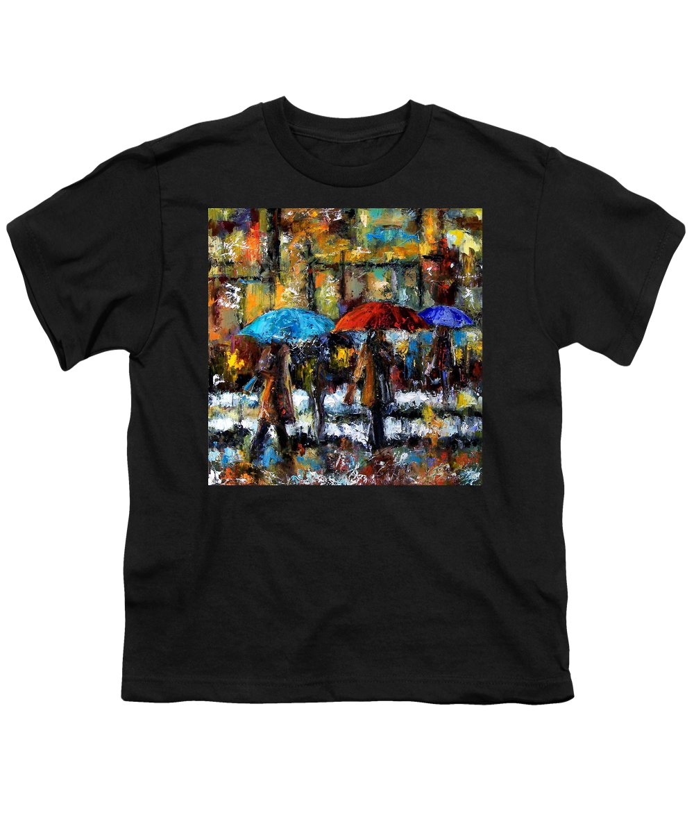 Rainy City Art Youth T-Shirt featuring the painting Wet Winter Day by Debra Hurd