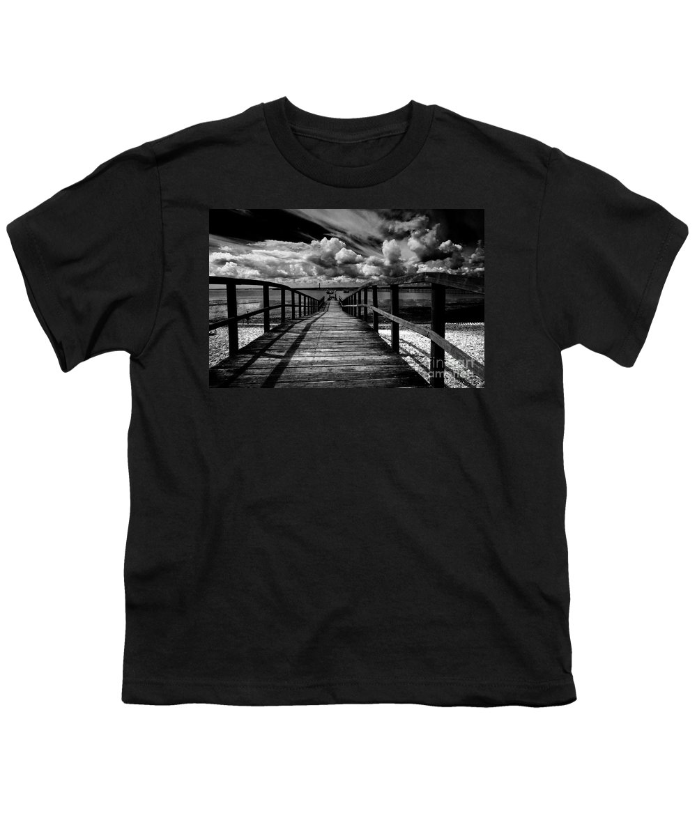 Southend On Sea Wharf Clouds Beach Sand Youth T-Shirt featuring the photograph Wharf At Southend On Sea by Avalon Fine Art Photography
