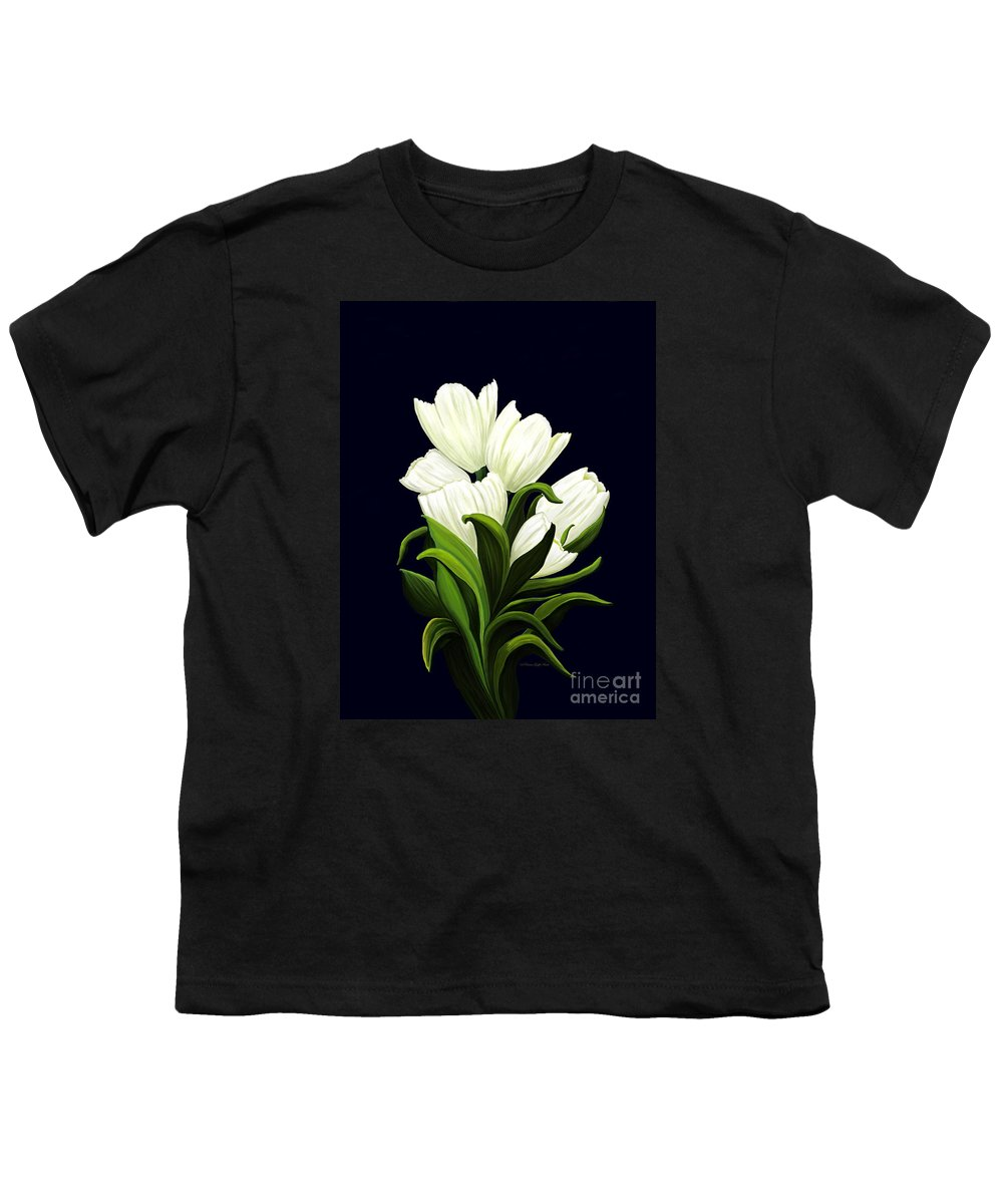 Mixed Media Youth T-Shirt featuring the painting White Tulips by Patricia Griffin Brett