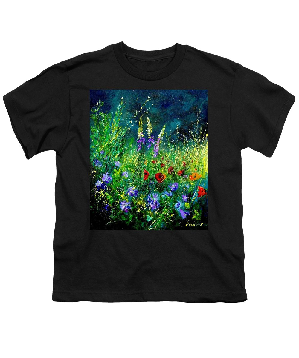 Poppies Youth T-Shirt featuring the painting Wild Flowers by Pol Ledent